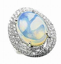 7.0ct Opal & 1.32ct Diamond Ring