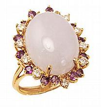5Fine Lavender Jadeite, Amethyst, Diamond Ring 14K