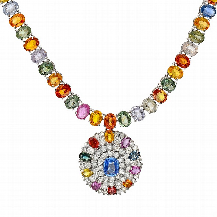 5ct Diamond & 108.91ct Sapphire Necklace