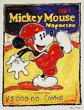 Leslie Lew, Original Sculpted Oil -Football Mickey
