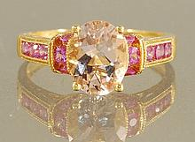 2.36ct  MORGANITE AND PINK SAPPHIRE RING 18k