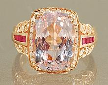 9.44 carat KUNZITE& DIAMOND RING