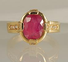 14K Ruby & Diamond Ring