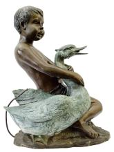 Bronze Statue of Boy holding a Duck 22