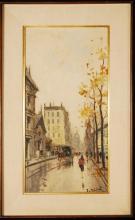 J. Michel, PARIS, Oil Painting on Burlap, Signed