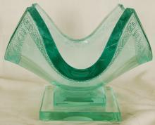 Olga P. Original Art Deco Crystal Vase, Signed