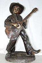 Life Size Bronze Boy Playing a Guitar