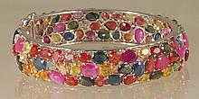 40ct Multi-Colored Sapphire Bangle