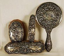Vintage Art Nouveau Sterling Silver Vanity Set