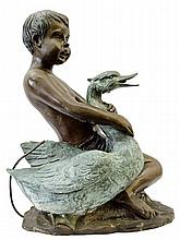 Bronze Statue of Boy holding a Duck 22