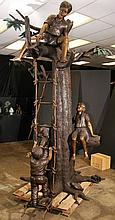 SIx Children Playing In Tree Large Bronze