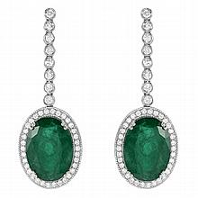 14.93 Carat Emerald and Diamond Earrings 14K Gold