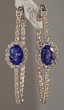 4.35 Carat Tanzanite and Diamond Earrings 14K Gold