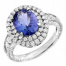 3.24 Carat Tanzanite and Diamond Ring 14K WG