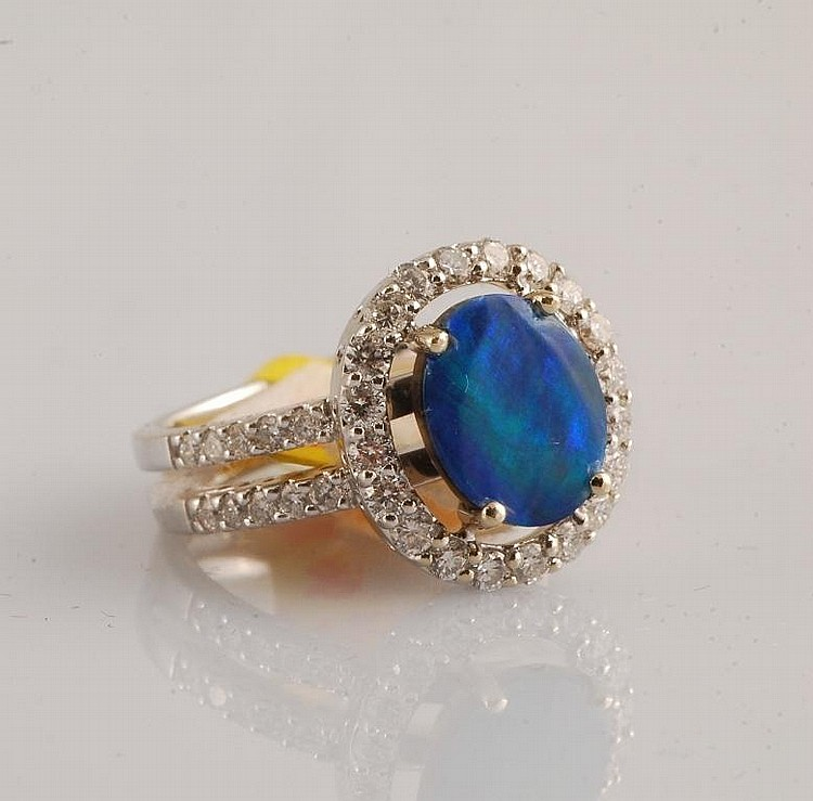 18K 2.34 Opal and Diamond Ring