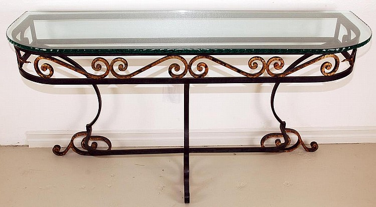 Vintage  Wrought Iron Console Table