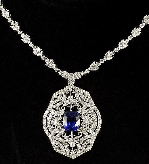 7.05 ct Tanzanite & 5.01 ct Diamond Necklace in 18K White Gold