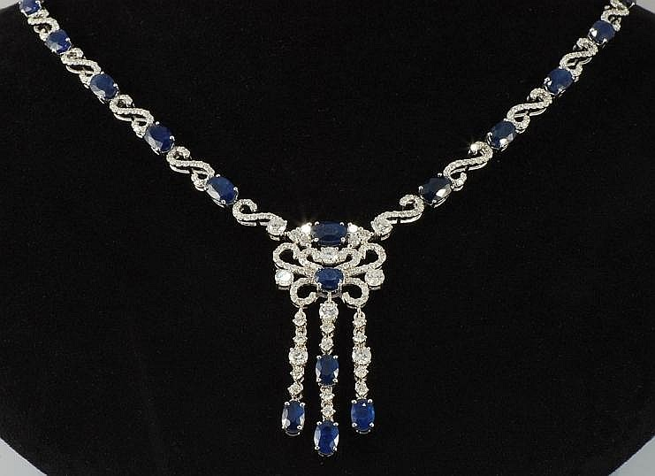25.16 ct Sapphire and Diamond Necklace in 18K White Gold