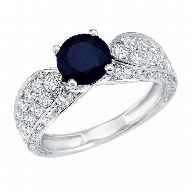 1.80 ct Diamond and 1.61ct Sapphire Ring in 18K Gold