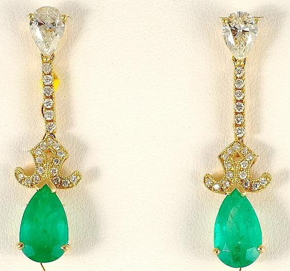 6.02ct Emerald and Diamond Earrings in 18K Yellow Gold