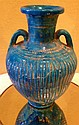 Ancient Egyptian Lion Headed Goddess Blue Vase 18