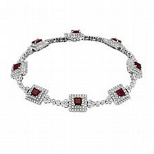 5.73 Carat Ruby and Diamond Bracelet