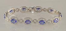 13.8 Carat Tanzanite and Diamond Bracelet In Gold