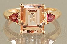 3.23CT  MORGANITE, DIAMOND AND PINK TOPAZ RING