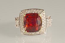 7.29 CT Hessonite Garnet and Diamond Ring 18K