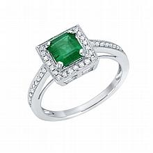 0.97 ct Emerald and 0.24 ct Diamond Ring