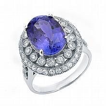 6.78 ctw Tanzanite & Diamond Ring