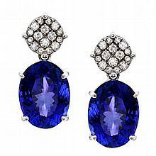 14K 1.00ct Diamond & 34.36ct Tanzanite Earrings