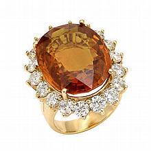 14K 3.64 Diamond & 26.40 Orange Sapphire Ring