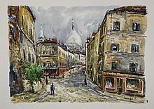 Robert L.P. LAVOINE (1916-1999)   Montmartre, la rue Norvins  Aquar