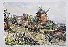 Robert L.P. LAVOINE (1916-1999)   Montmartre, le Moulin de la Galette