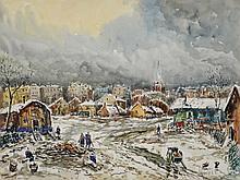 Robert L.P. LAVOINE (1916-1999)   La zone à Montreuil  Aquarelle et