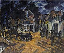 Janos SCHADL (1892-1944), école hongroise  Scène de village, 1928