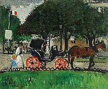 François GALL (1912-1987)  Calèche à Paris  Huile sur panneau, sign