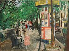 François GALL (1912-1987)  Promenade sur les quais de Paris  Huile