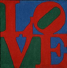 Robert INDIANA (Né en 1928)  Classic love, 2007, Laine teintée. Tapis s