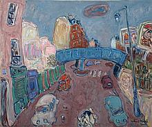Robert DELVAL (né en 1934)  Le pont bleu  Huile sur toile, signée e