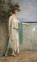 Henri GERVEX (1852-1929) Elégante en bord de mer,