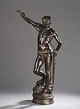 Antonin MERCIÉ (1845 -1916) David Vainqueur de Goliath  Épreuve en bronze à
