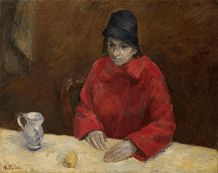 Woman in Red. Portrait of Lyubov Georgievna Popesku