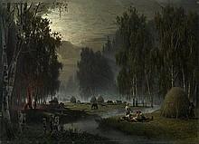 SUKHODOLSKY, PETR (1835-1903) Haymakers. Evening Rest