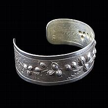 Chased Sterling Cuff Bracelet