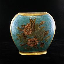 Hand Painted Guilloche Brass Vase