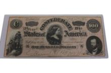 1864 Richmond Confederate $100 One Hundred Note