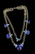 Vintage Gold Tone Double Strand Necklace