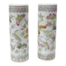 Pair of Chinese Late Qing Porcelain Brush Holders